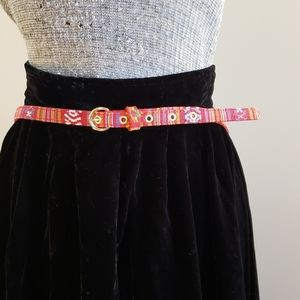 Accessories - Embroidered Skinny Belt